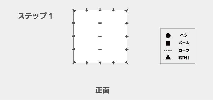 図解を交えたDDタープ「ステルス張り」の張り方の手順