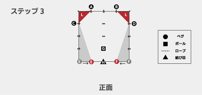 図解を交えたDDタープ「ステルス張り」の張り方
