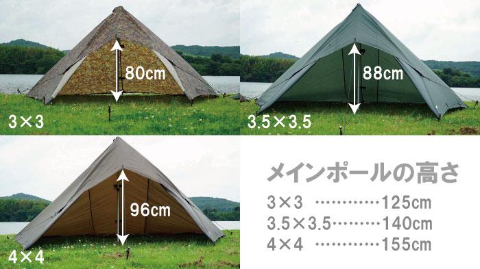ステルス張りの3x3、3.5×3.5、4x4の広さを比較
