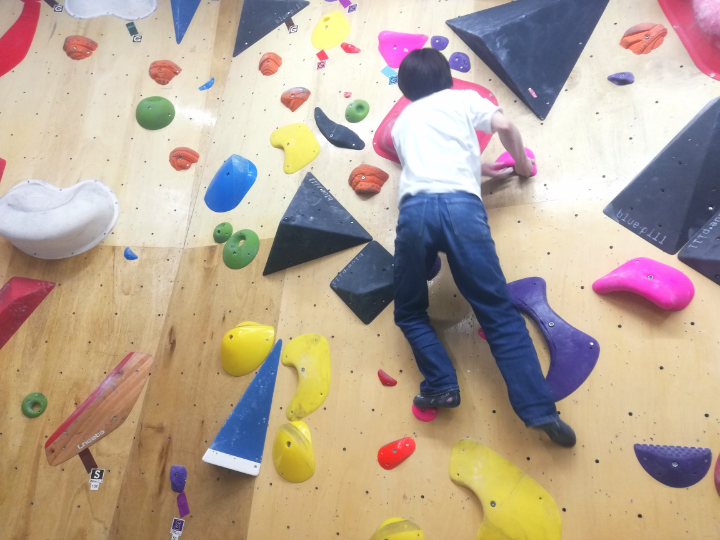 腕の力と足の力を使い登る