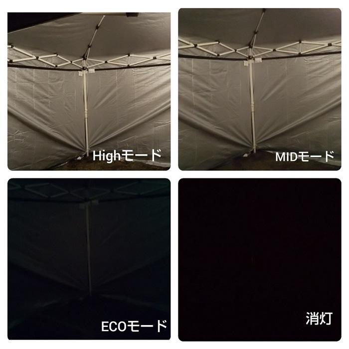 EX-136sモード別の明るさの比較