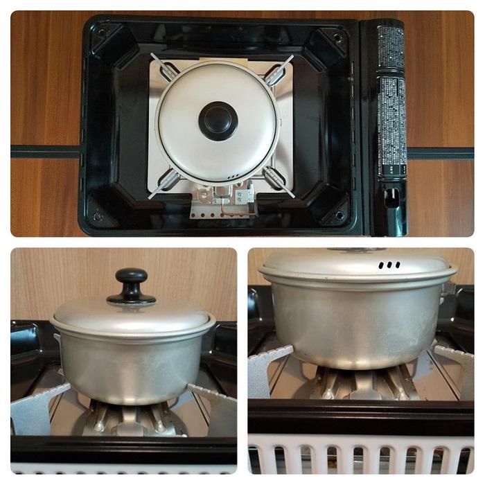 焼き上手さんαに小さめの鍋を置いた