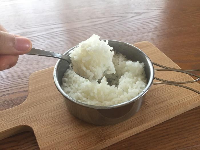 クッカー炊飯の炊きあがり②