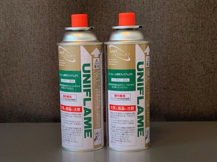 ユニフレームのツインバーナーUS-1900のガス缶