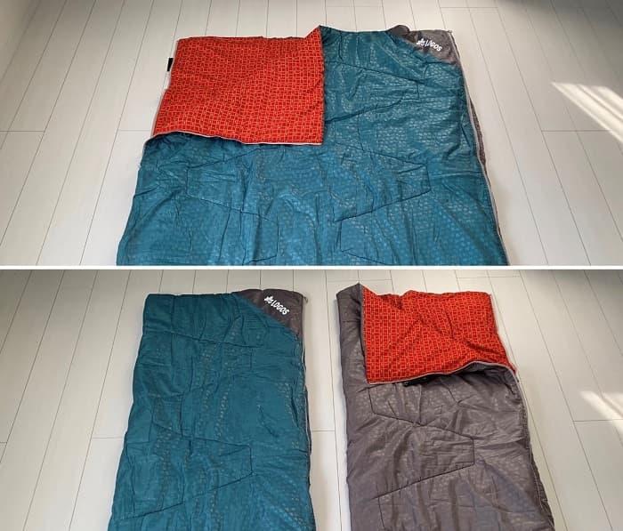 ロゴス「ミニバンぴったり寝袋・-2」の連結・分離ができる2in1シュラフ
