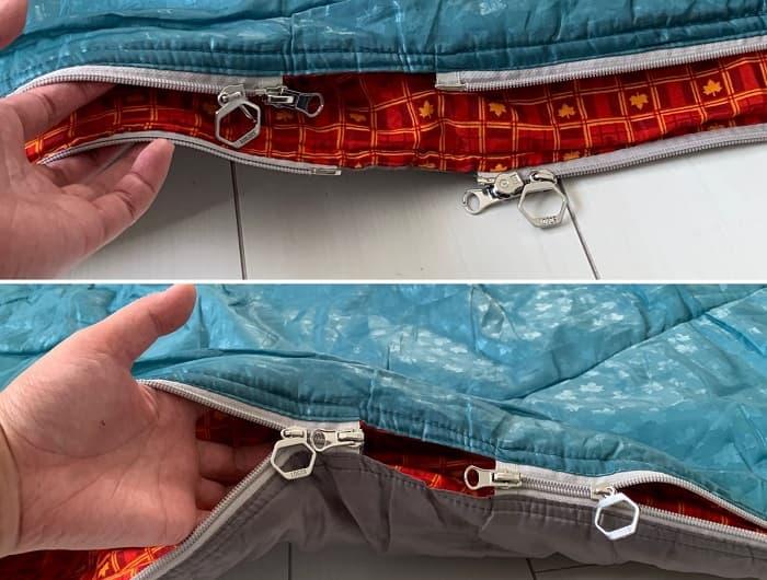 ロゴスの寝袋の連結方法