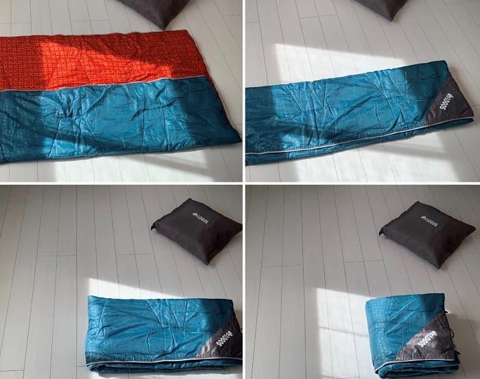ロゴス「ミニバンぴったり寝袋・-2」のたたみ方