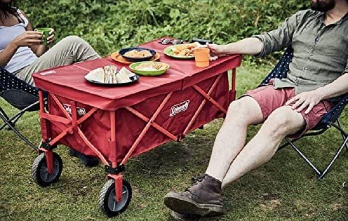 コールマンアウトドアワゴンのテーブルやレインカバー
