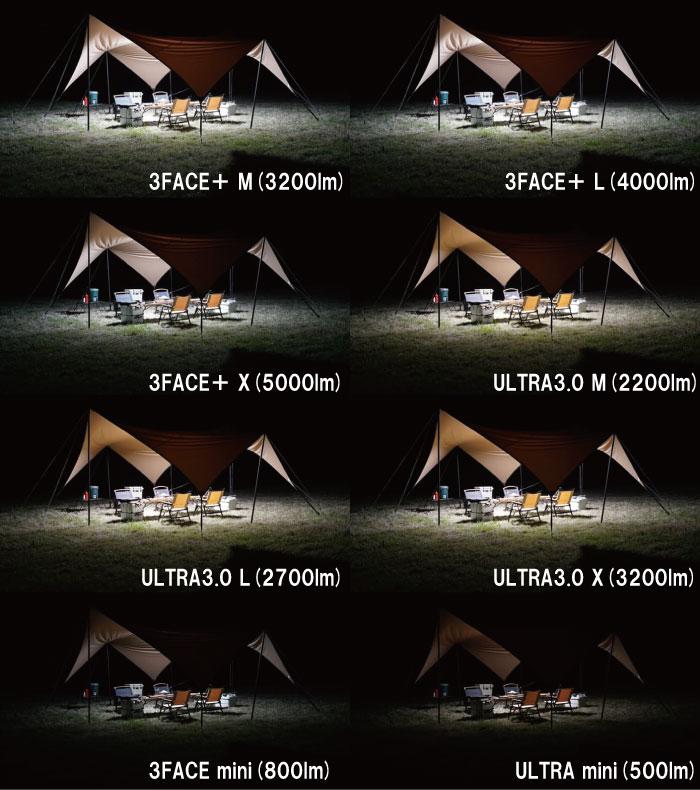 クレイモアランタンの明るさを比較