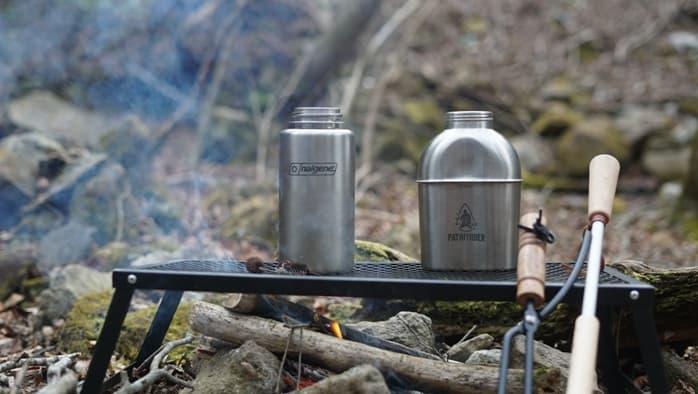 直火で使うなら単層ステンレスボトルや単層チタンボトル