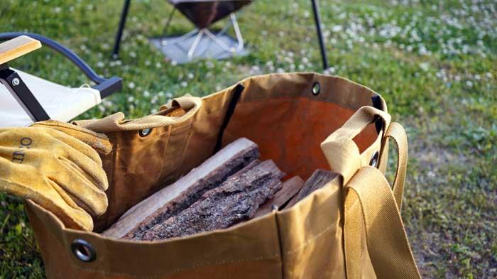 トートバッグ型の薪バック