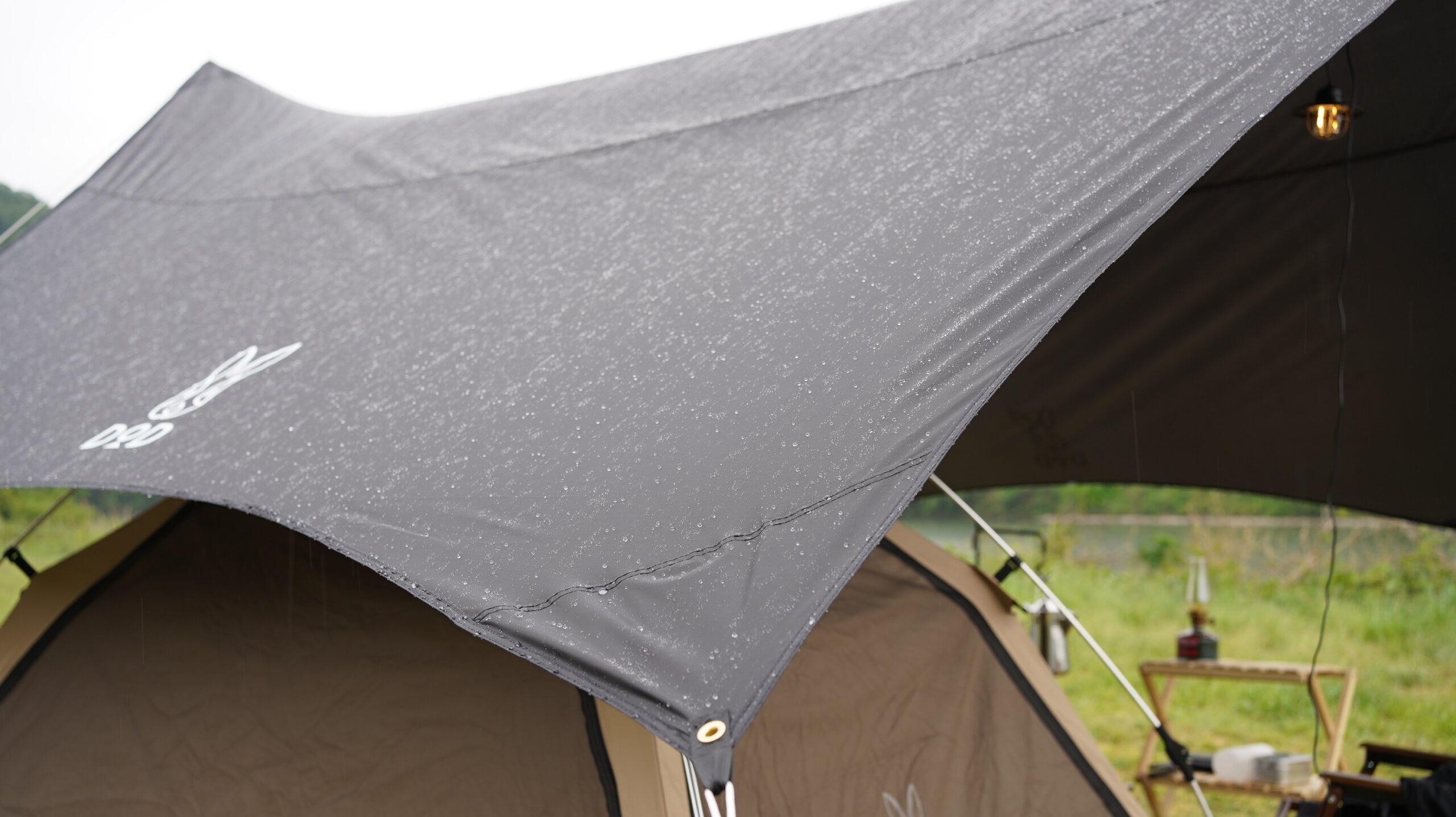 雨の日はテントとタープ連結設営