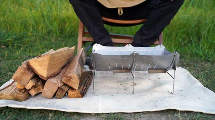 ベルモント焚き火台「TABI(タビ)」で使用できる薪の長さや安定感